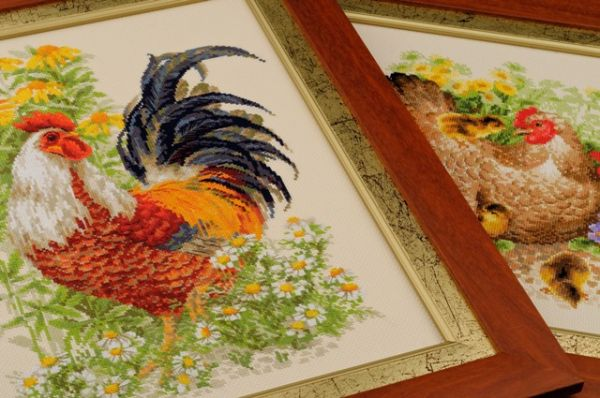 Cross stitch kits Rooster and Hen