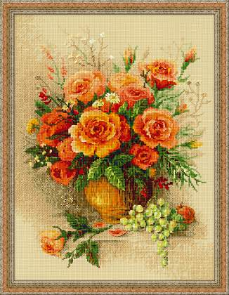 cross stitch kit tea roses