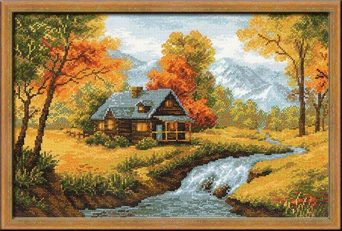 cross stitch kit crimson autumn