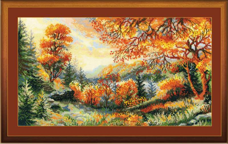 cross stitch kit autumn view