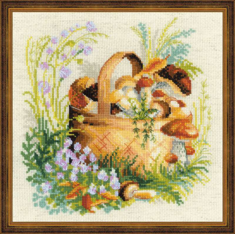 cross stitch kit mushroom bascet