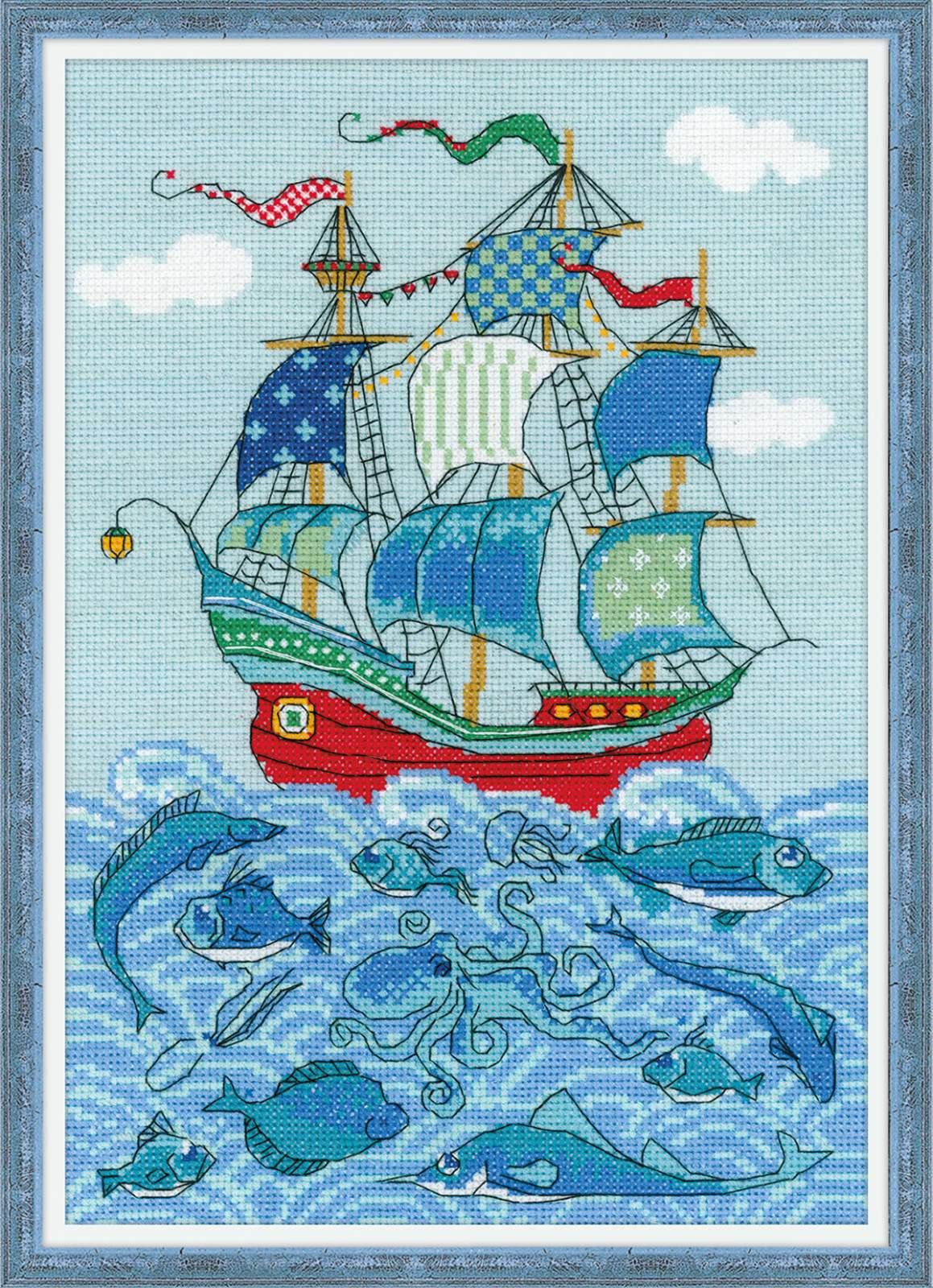 "cross stitch kit Sailboard ""Luck"""