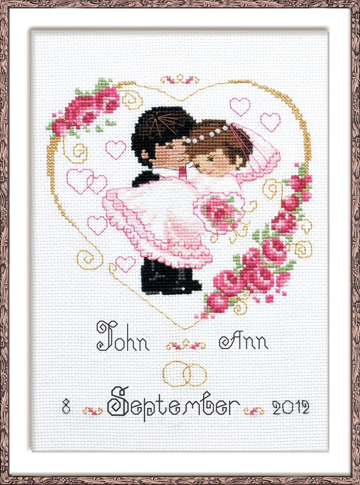 cross stitch kit wedding metric