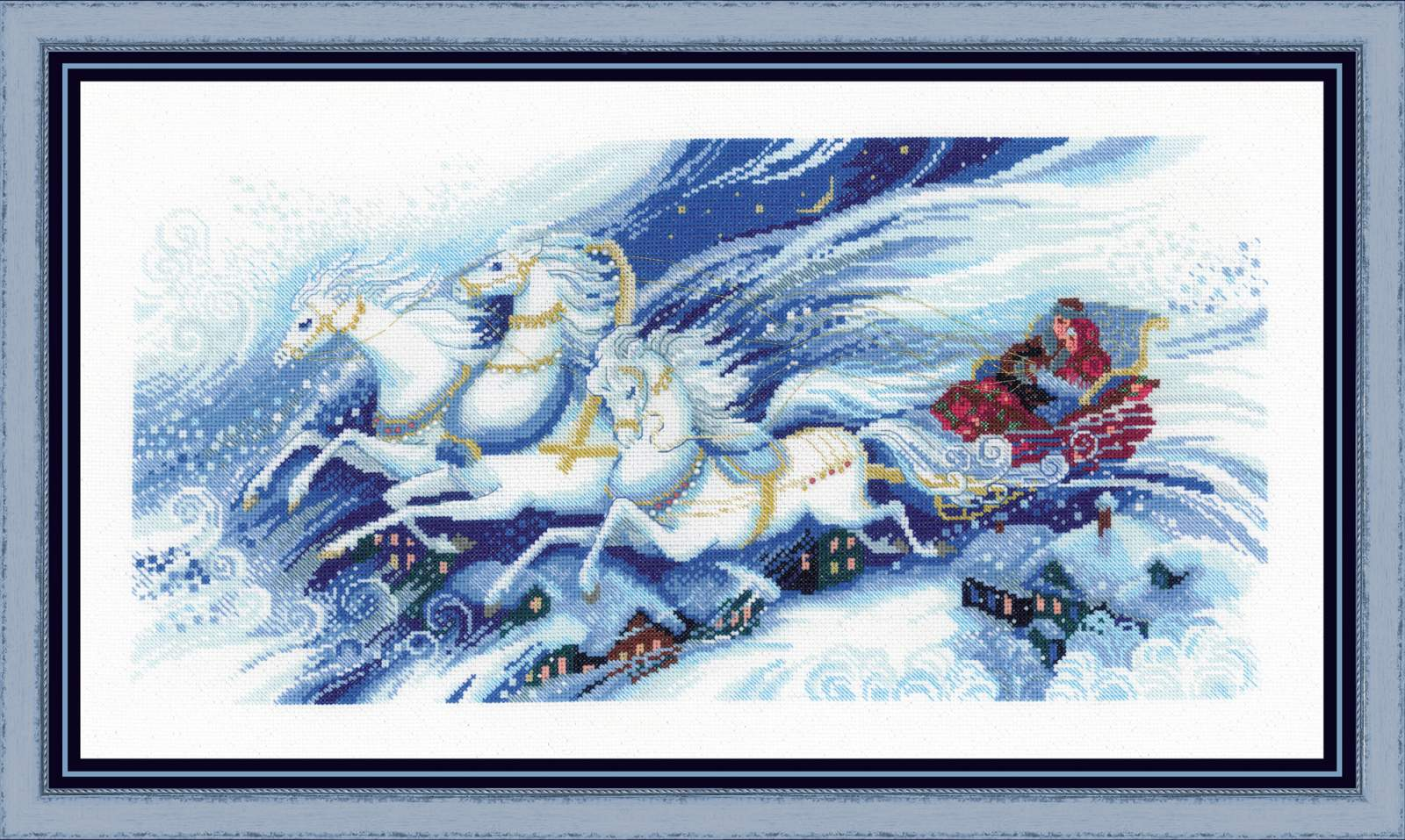 cross stitch kit magical sleigh ride